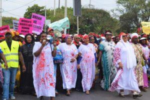 women protesting in Mombasa